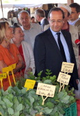 French President and former Socialist President of the Correze department General Council Francois Hollande visits a market in his electoral fiefdom...