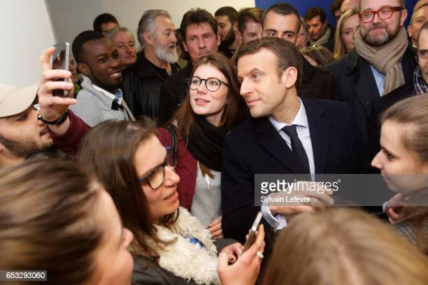 French President Candidate Emmanuel Macron visits Lille University on March 14 2017 in Lille FranceThe French Presidential elections begin on April...