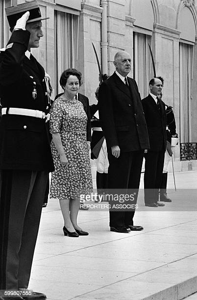 French President Charles De Gaulle And Wife Yvonne On the Steps of the Elysée Palace in Paris France on May 6 1965