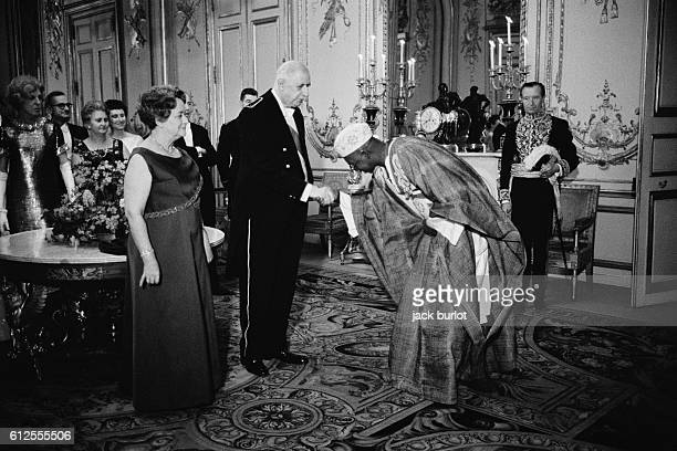 French President Charles de Gaulle and Wife Yvonne Welcome Guests to Diplomatic Reception