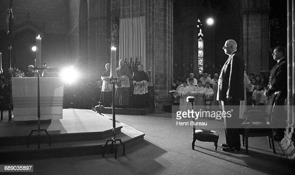 French President Charles de Gaulle attends a church service in Quimper during a visit to Brittany France February 1969