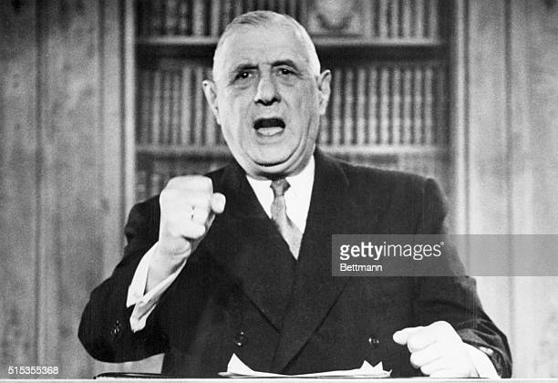 French President Charles de Gaulle gestures during the tape recording of his speech to the French people The speech marks de Gaulle's appeal for...
