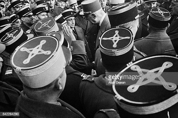 French President Charles de Gaulle meets soldiers on Armistice Day in Strasbourg