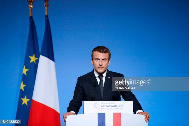 French President Emmanuel Macron adresses French ambassadors during the annual gathering of French diplomatic corps at the Elysee Palace in Paris on...