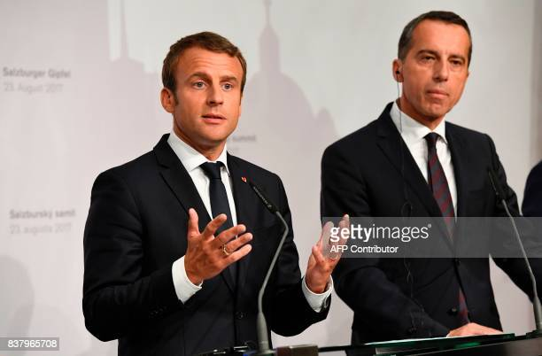 French President Emmanuel Macron and Austrian Chancellor Christian Kern address a press conference after their meeting on August 23 2017 at the...