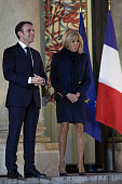 FRA: French President Emmanuel Macron Receives France Handball Team Who Won The EHF EURO 2018 European Women's Handball Championship