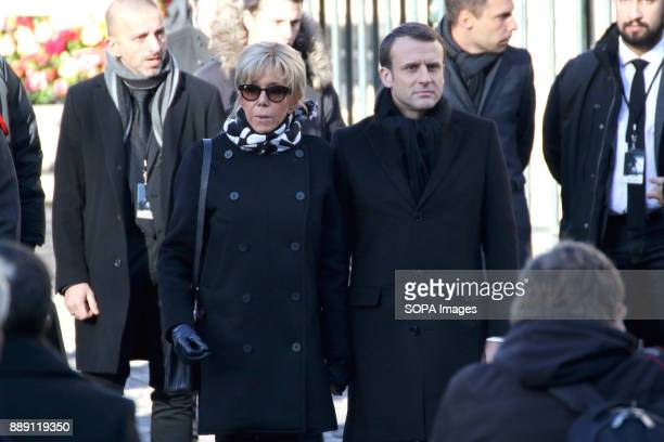 French President Emmanuel Macron and his wife Brigitte Macron during Johnny Hallydays funerals at Eglise de la Madeleine