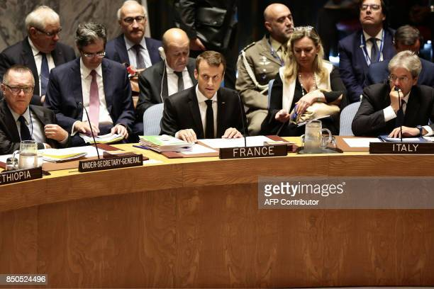 French President Emmanuel Macron and Italian Prime Minister Paolo Gentiloni as they participate in an open debate of the United Nations Security...