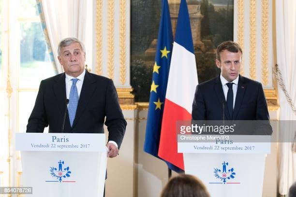 French President Emmanuel Macron and President of the European Parliament Antonio Tajani deliver a speech at the Elysee Palace on September 22 2017...
