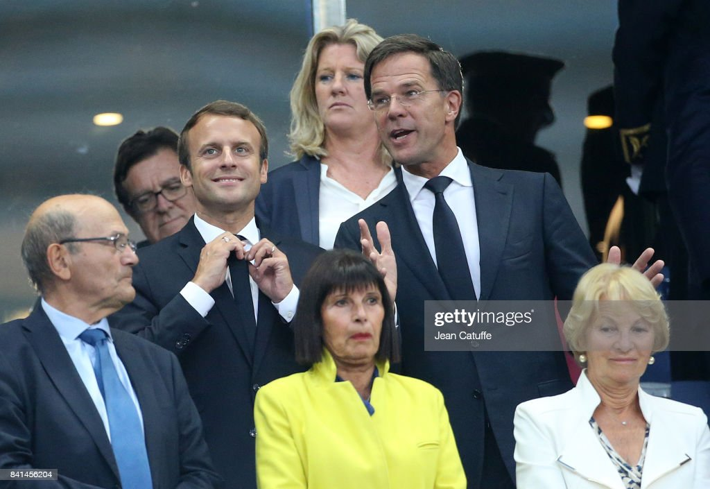 French President Emmanuel Macron and Prime Minister of the Netherlands Mark Rutte attend the FIFA 2018 World Cup Qualifier between France and the Netherlands at Stade de France on August 31, 2017 in Saint-Denis near Paris, France.