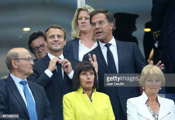 French President Emmanuel Macron and Prime Minister of the Netherlands Mark Rutte attend the FIFA 2018 World Cup Qualifier between France and the...