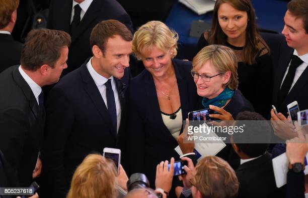 French President Emmanuel Macron and rightwing Les Republicains party MP Nadine Morano pose pictures during a ceremony for late German Chancellor...