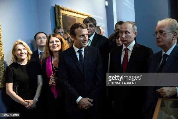 French President Emmanuel Macron and Russian President Vladimir Putin visit of an exhibition about Russian emperor Peter the Great at the Grand...