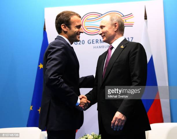 French President Emmanuel Macron and Russian President Vladimir Putin meet during the G20 Summit on July 8 2017 in Hamburg Germany The leaders were...