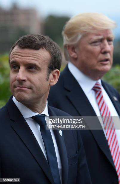 French President Emmanuel Macron and US President Donald Trump attend the Summit of the Heads of State and of Government of the G7 the group of most...