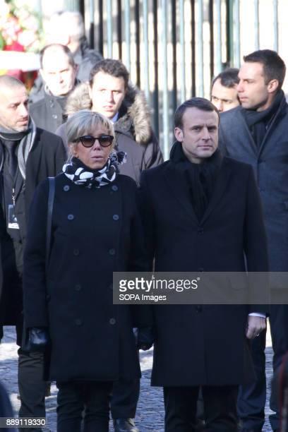 French President Emmanuel Macron and wife Brigitte Macron during Johnny Hallydays funerals at Eglise de la Madeleine