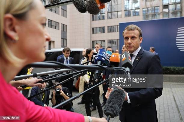 French President Emmanuel Macron arrives ahead of a European Council Meeting at the Council of the European Union building on October 19 2017 in...