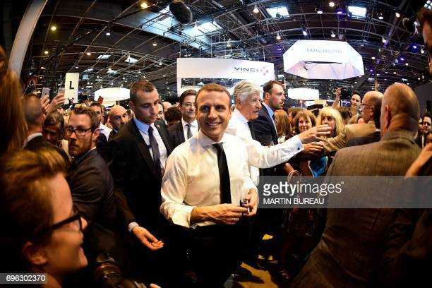 French president Emmanuel Macron arrives at the Viva technology event dedicated to startups development innovation and digital technology in Paris on...