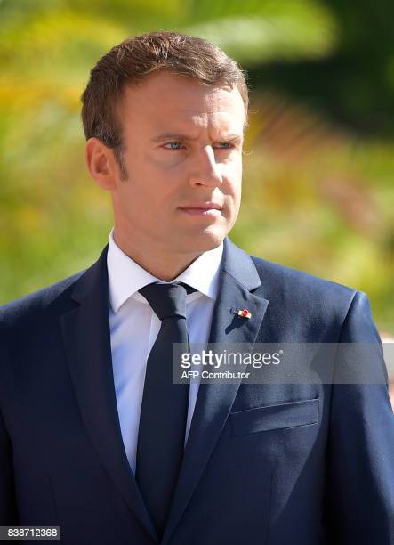 French President Emmanuel Macron arrives for a meeting with Bulgarian President in Varna on August 25 2017 Macron meets the prime minister and...