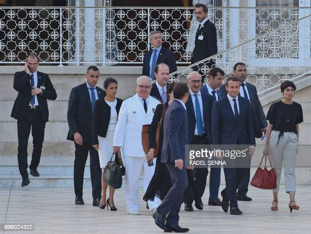 French President Emmanuel Macron arrives to hold a press conference in the Moroccan capital Rabat on June 14 2017 Macron is on an official visit to...
