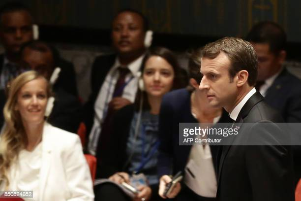 French President Emmanuel Macron arrives to participate in an open debate of the United Nations Security Council in New York on September 20 2017 /...