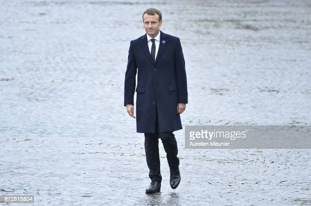 French President Emmanuel Macron attends the Commemoration of Armistice Day ceremony on November 11 2017 in Paris France The ceremony marks the 99th...