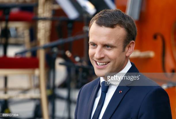 French President Emmanuel Macron attends the 'Fete de la musique' during the visit of Colombian President Juan Manuel Santos and his wife Maria...