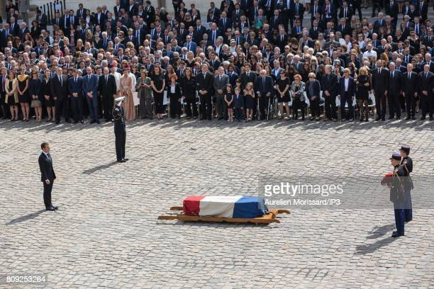 French President Emmanuel Macron attends the Simone Veil Funeral and national tribute at Hotel des Invalides on July 5 2017 in Paris France Survivor...
