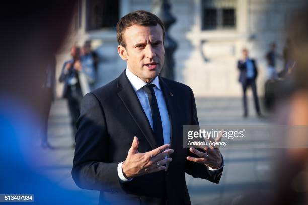 French President Emmanuel Macron attends the Western Balkans Summit in Piazza Unita d'Italia in Trieste Italy on July 12 2017 Seven EU and six...