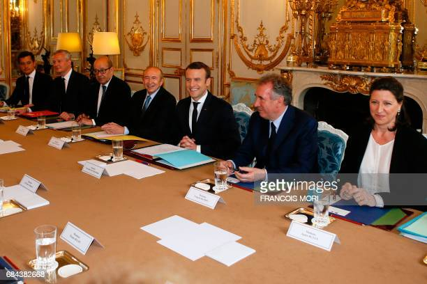 French President Emmanuel Macron chairs his first cabinet meeting as President with his newly named ministers French Minister of Solidarity and...