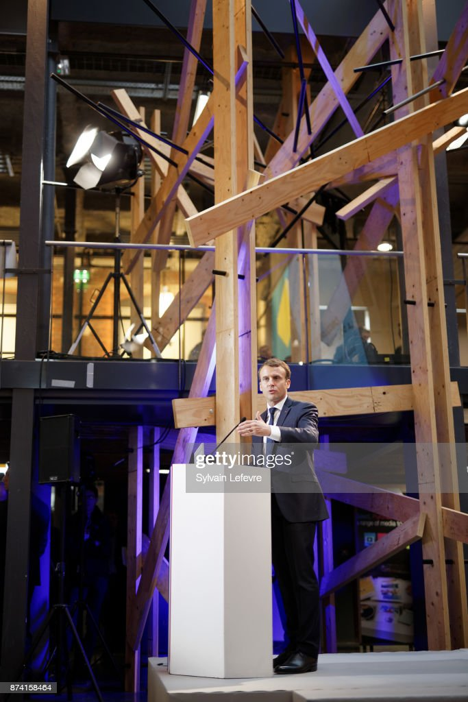 French President Emmanuel Macron delivers a speech during a visit to the Plaine Images industry hub on November 14, 2017 in Tourcoing, France.