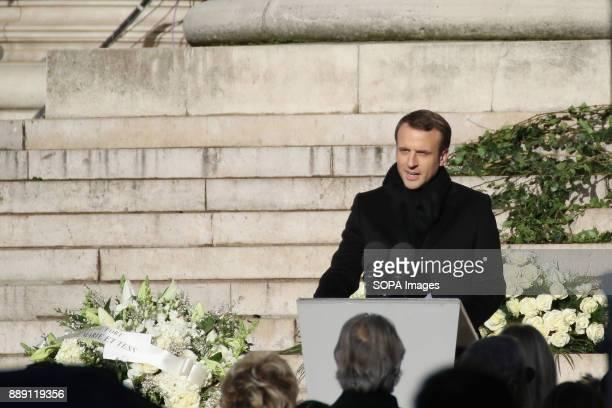 French President Emmanuel Macron delivers a speech during Johnny Hallydays funerals at Eglise de la Madeleine