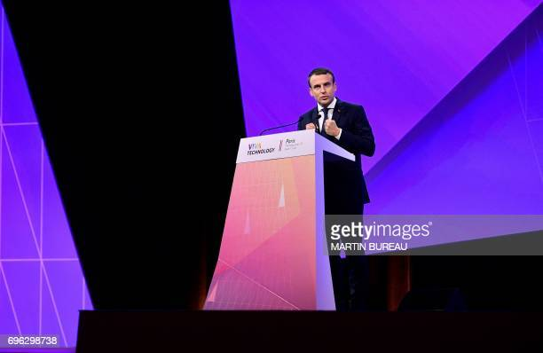 French President Emmanuel Macron delivers a speech during the Viva Technology event dedicated to startup development innovation and digital...