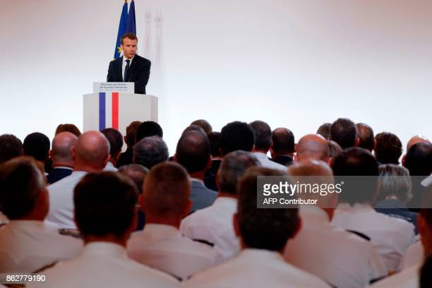 French President Emmanuel Macron delivers a speech on security to representatives of French national police Gendarmes and 'Sentinelle' security plan...