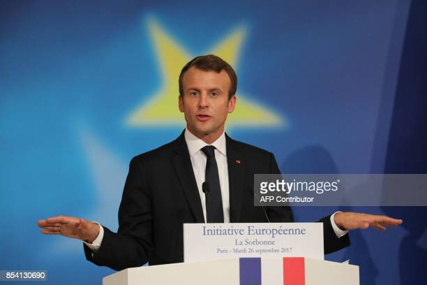 French President Emmanuel Macron delivers a speech on the European Union at the amphitheater of the Sorbonne University on September 26 2017 in Paris...