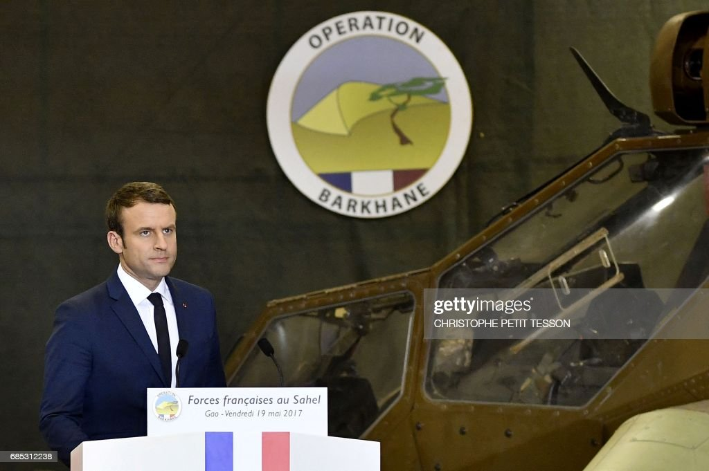 French President Emmanuel Macron delivers his speech during his visit to the troops of France's Barkhane counter-terrorism operation in Africa's Sahel region in Gao, northern Mali, on May 19, 2017. French President Emmanuel Macron arrived on May 19 in conflict-torn Mali to visit French troops fighting jihadists on his first official trip outside Europe since taking power. /