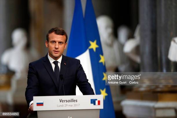French President Emmanuel Macron during a joint press with Russian President Vladimir Putin at 'Chateau de Versailles' on May 29 2017 in Versailles...