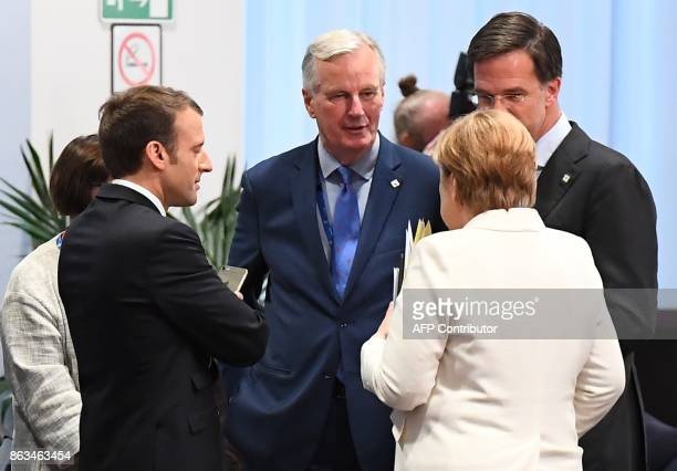 French President Emmanuel Macron European Union Chief Negotiator in charge of Brexit negotiations with Britain Michel Barnier Netherland's Prime...