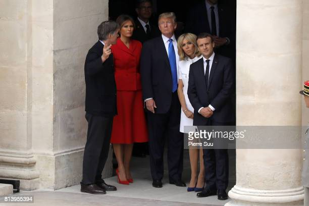 French President Emmanuel Macron french first lady Brigitte Macron US President Donald Trump and his wife first Lady Melania Trump are pictured on...