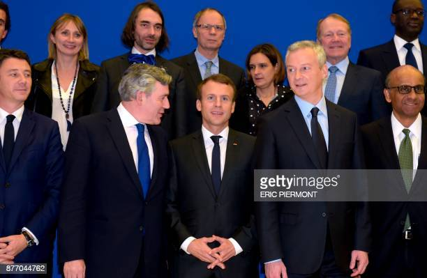 French President Emmanuel Macron French Junior Minister for Economy Benjamin Griveaux former British Prime Minister Gordon Brown French Economy...