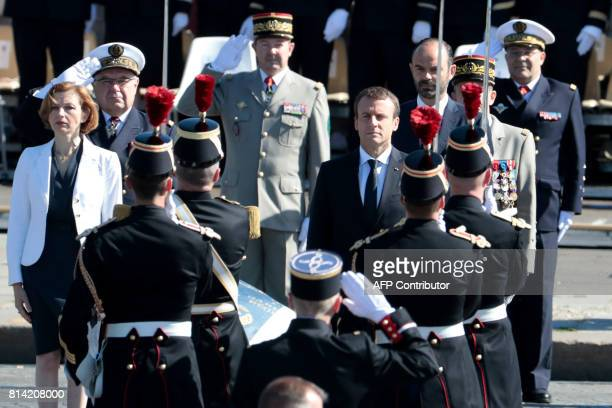 French President Emmanuel Macron French Prime Minister Edouard Philippe and French Defence Minister Florence Parly attend the annual Bastille Day...