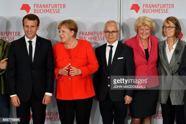 French President Emmanuel Macron German Chancellor Angela Merkel president of the German Publishers and Booksellers Association Heinrich Riethmueller...