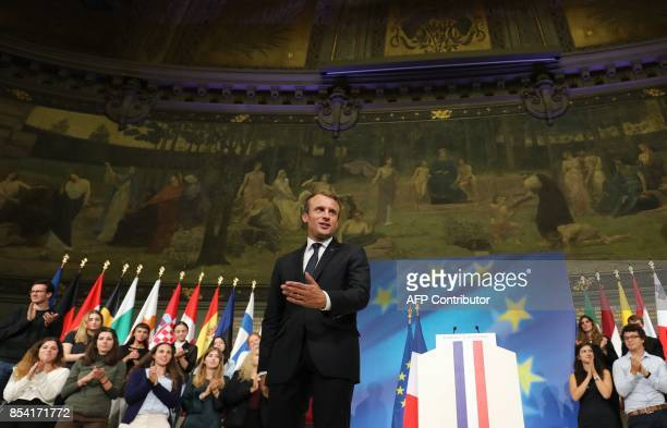 French President Emmanuel Macron gestures after delivering a speech on the European Union in the amphitheatre of the Sorbonne University in Paris on...