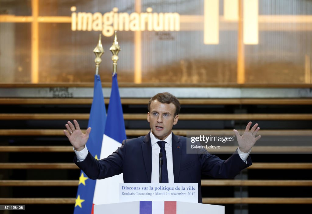 French President Emmanuel Macron gestures as he delivers a speech during a visit to the Plaine Images industry hub on November 14, 2017 in Tourcoing, France.