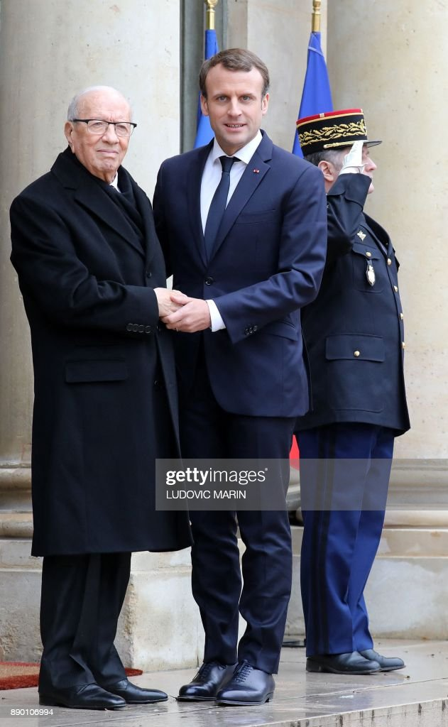 French President Receives Tunisian President Beji Caid Essebsi At Elysee Palace In Paris
