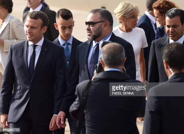French President Emmanuel Macron his wife Brigitte Moroccan King Mohammed VI his son Prince Moulay Hassan his brother Prince Moulay Rachid and his...