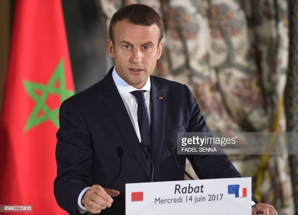 French President Emmanuel Macron holds a press conference in the Moroccan capital Rabat on June 14 2017 Macron is on an official visit to Morocco /...
