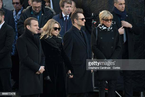 French President Emmanuel Macron Laura Smet David Hallyday and Brigitte Macron during Johnny Hallyday's Funeral at Eglise De La Madeleine on December...