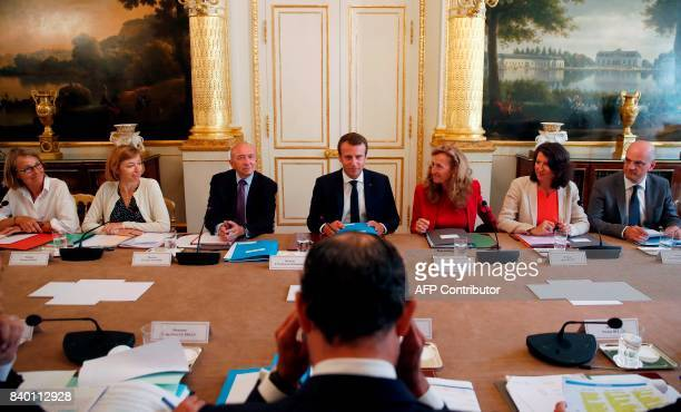 French President Emmanuel Macron leads the first government meeting after the summer break on August 28 2017 at the Elysee Palace in Paris / AFP...