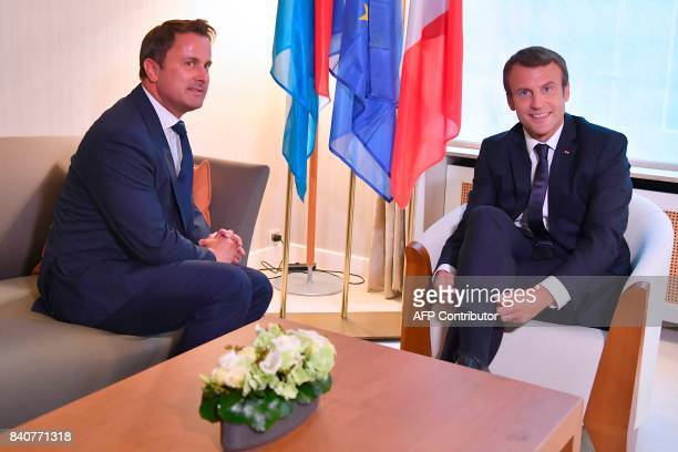 French President Emmanuel Macron meets with Luxembourg's Prime Minister Xavier Bettel in Luxembourg on August 29 2017 / AFP PHOTO / POOL / Christian...